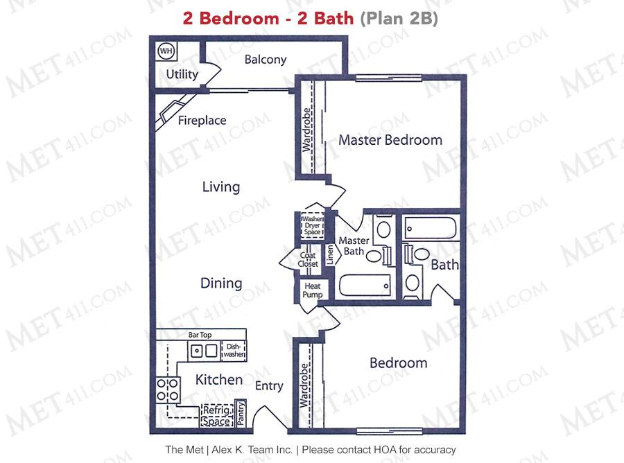 Met Warner 2 bedroom 2 bath floor plan